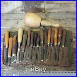 16 No Vintage Wood Carving Chisels In Roll with Beechwood Carvers Mallet