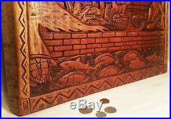 19.5 PALAU STORYBOARD vtg breadfruit tree fish turtle shark tiki wood carving