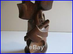 1950's Wood Sculpture Carving Cubism Modernism Abstract Vintage Musician Cubist