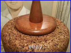 1960s MCM CORK mahogany wood table lamp vtg interior design lighting sculpture