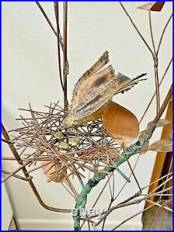 1967 Jere Signed Vtg Mid Century Modern Brass Metal Tree Bird Floor Sculpture
