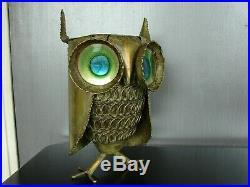 1968 vintage Mid Century Curtis Jere Owl Bird Metal Sculpture signed