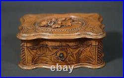 19c Antique Wooden Wood Carving Black Forest Jewelry Box Casket Acorn Motif Lid