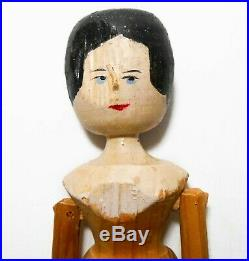 19th C American Antique Folk Art Hand Carved Painted Kinetic Hinged Wooden Doll