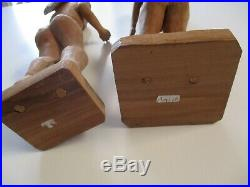 2 Large Vintage Wood Sculptures Carvings Folk Art Ada And Eve Mexico Naive
