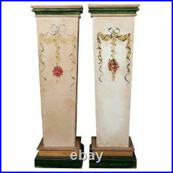 2 Vintage Country Floral Paint Decorated Sculpture Display Pedestal Stands