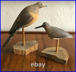 2 Will E Kirkpatrick Wek Hand Carved Mourning Dove Shore Bird Decoy Sculpture