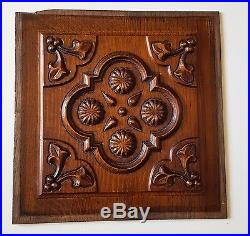 2 vintage carved wood panel Architectural salvage Wood carving N°2 12.6 x 12.48
