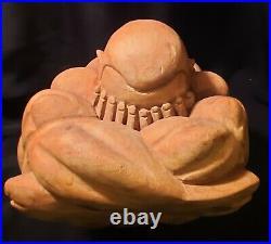 20th century 9 GIANT! Weeping buddha wood carving statue vtg buddha yogi monk