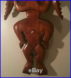 2ft'50s KOA vtg hawaiian tiki bar wood carving tribal big island prison mcm art