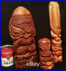 3 TIKI's! Vtg hawaiian wood carved maui tribal art bar sculpture statue effigy