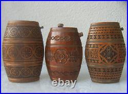 3 x Antique Vintage Wooden Wood Pocket Barrel Keg Canteen Cask Tub Pail, carving
