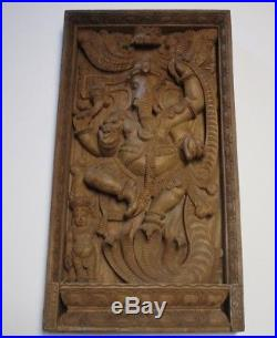 37 Inches Vintage Wood Carving Sculpture Icon Hindu Temple Idol Statue Ganesh