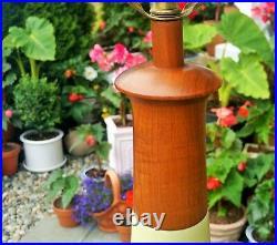 3FT tall MARTZ table lamp vtg teak walnut ceramic art pottery wood mcm sculpture