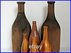 6 Vintage Wood Bottle Sculptures / Pattern Molds Large 17 3/4 tall 8 3/4