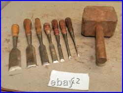 7 vintage Stanley 750 chisel 1 1/2 1/4 collectible wood carving burl mallet C2
