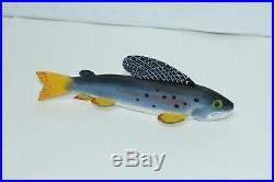 8 Grayling Trout Fish Spearing Decoy Carving Signed (P), James (JIM) Pullen