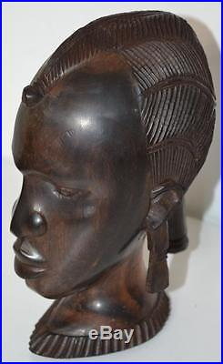 A Vintage African Carved Wood Sculpture Head of a woman FREE Shipping PL3306
