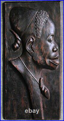 AFRICAN Wood Carving RARE Vintage TRIBAL Pair Finely HAND Made Relief Sculpture