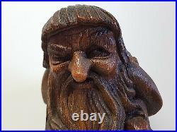 ANRI ITALY WOOD CARVING vintage little folk OLD MAN gnome troll big size RARE