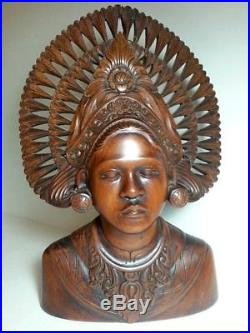 ANTIQUE / VTG Bali Woman Wood Sculpture BUST Head Hand Carved Tribal Statue