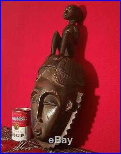 Antique African Wood Mask Wall Sculpture Vtg Tiki Tribal Art