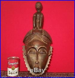 ANTIQUE african wood mask wall sculpture vtg tiki tribal art headdress carving