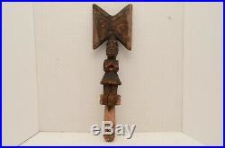 ATQ African Yoruba Shango Oshe Sango dance Wand Sculpture Vintage ART Staff LG