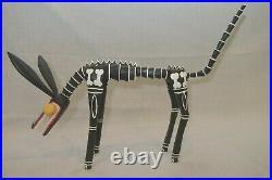 Adrian Xuana Oaxacan Wood Carving Unusual Skeleton Dog Vintage Rare