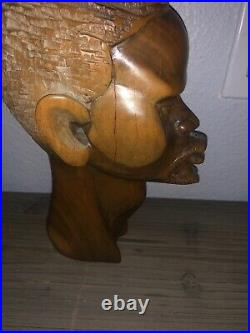 Africa African Head Bust Solid Wood Hand Carved Man Figure Sculpture 11 Vintage