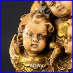 Angel Sculpture Three Wood Carving Statue Vintage Italian Winged Putti