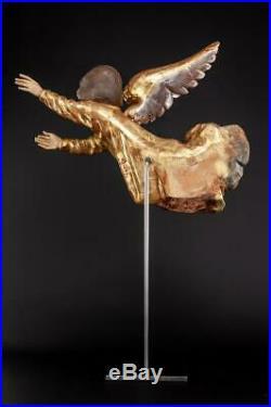 Angel Sculpture Wood Carving Statue Archangel Wooden Antique Vintage 17