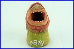 Anri BIG MOUTH Toothpick Match Holder Early Vintage Wood Carving Woman