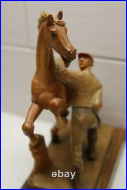 Anri Wood Carving Carved Horse and Jockey Italy Vintage Original