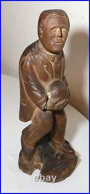 Antique 1800's Folk Art hand carved wood figural man sculpture statue figure