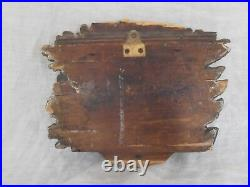 Antique 18th century wood carving English coat of arms family crest Orig paint