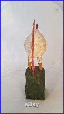 Antique Americana Vintage Art Hand Painted and Carved Wood Folk Art Chicken
