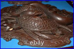 Antique Carved Oak Wood Sculpture Black Forest Wall Plaques