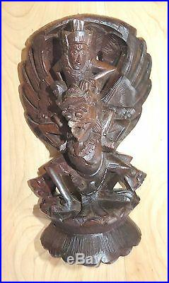 Antique Carved Wood Asian Gargoyle Vintage early 1900's vintage carving