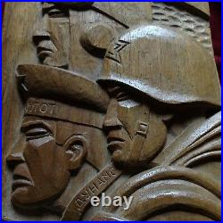 Antique Communist Soldier Lenin Gulag Art Handcarved Wood Statue Sculpture War