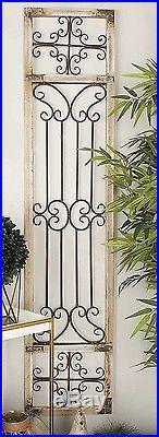 Antique Distressed Vintage Scrolling Wood Iron Garden Gate Door Wall Art Panel