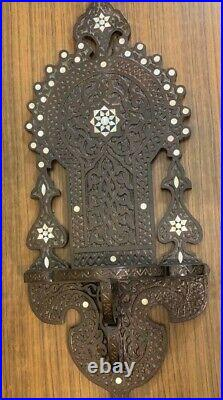 Antique Egyptian Wood Wall Shelf, Handwork Carving wood, Inlaid Mother of Pearl