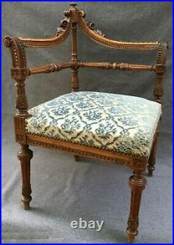Antique French Louis XVI style corner chair 19th century woodwork carving flower