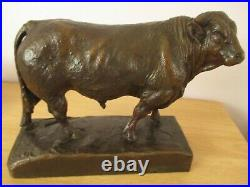 Antique Large 10 Black Forest Bull Swiss Wood Carving Cow Figurine