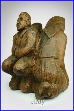 Antique Massive Wooden Carved Sculpture Signed Man Woman Statue Figure Rare