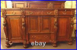 Antique Oak Sideboard Attributed to RJ Horner. High Relief Carving. 40Hx72.1890