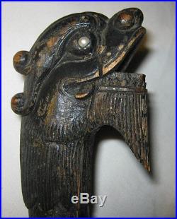 Antique Primitive Folk Art Carved Wood Foo Dog Sculpture Walking Stick Cane Tool