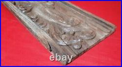 Antique Solid Wooden Peacock Wall Panel Vintage Peafowl Window Plaque Rare 19