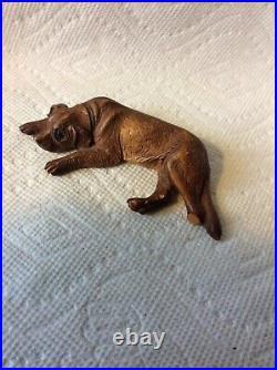 Antique Swiss Wood Black Forest St Bernard Dog Carving