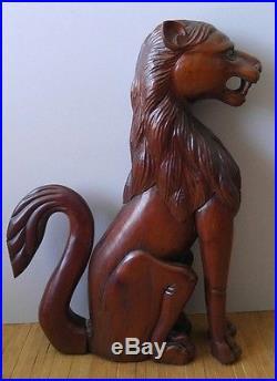 Antique VNTG 22 Rare Gothic Wood Carved Lion Figure Statue Sculpture